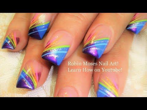 Nail Art Tutorial | Diy Easy Rainbow Striped Nails | Chevron French Nail Design video