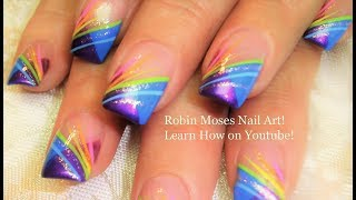 Nail Art Tutorial | Rainbow Stripe Nails | Chevron French Nail Design