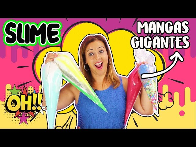 SLIME CON MANGAS PASTELERAS GIGANTES !! MAKING SLIME WITH GIANT PIPING BAGS  COMO SE HACE