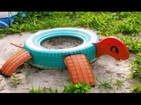 Как украсить двор из шин