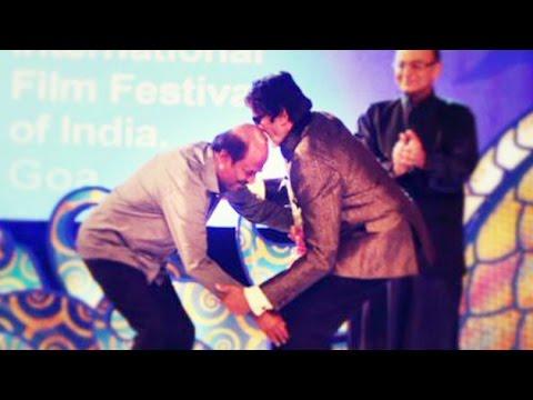 Rajinikanth Touches Amitabh Bachchan's Feet | 45th International Film Festival