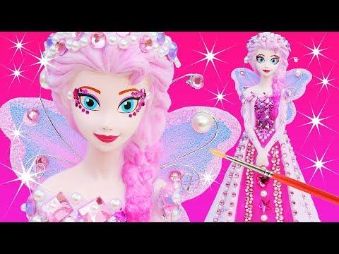 FROZEN ELSA PINKIE FAIRY PRINCESS DRESS Paint Your Own Makeover Doll Plus GARDEN FAIRY DRESS