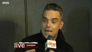 Robbie Willaims speak to One Show @ The BBC Music Awards 2016