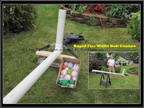 Rapid Fire WIFFLE BALL CANNON pitches WATER BALLOONS too!
