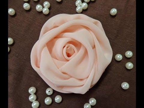 Сделать розу из шифона видео