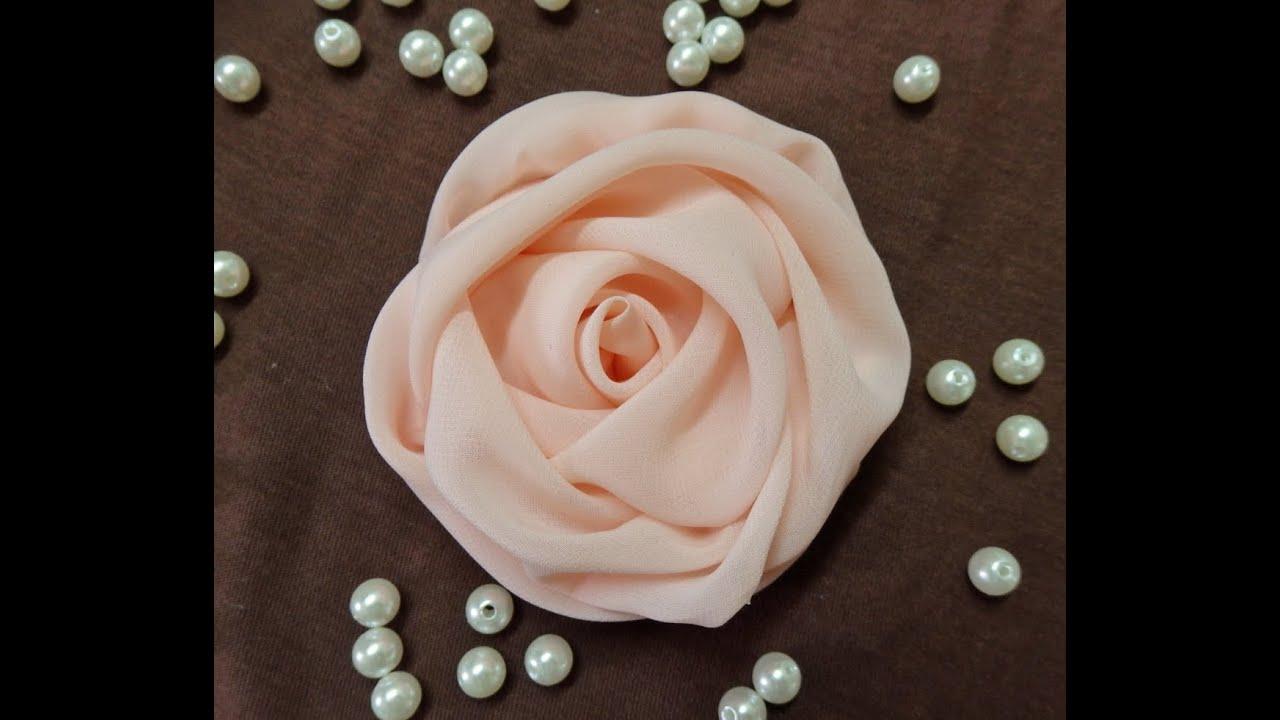 Вышивка розы из шифона