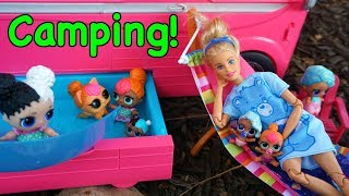 LOL SURPRISE DOLLS Go Swimming While Camping!