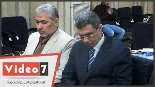 عادل لبيب وياسر رزق والفقى وعبد القدوس فى عزاء شقيقة جلال عارف