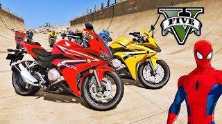 MOTOS com Homem Aranha e Heróis! Saltos na Mega Rampa com SUPER MOTOS - GTA V Mods - IR GAMES