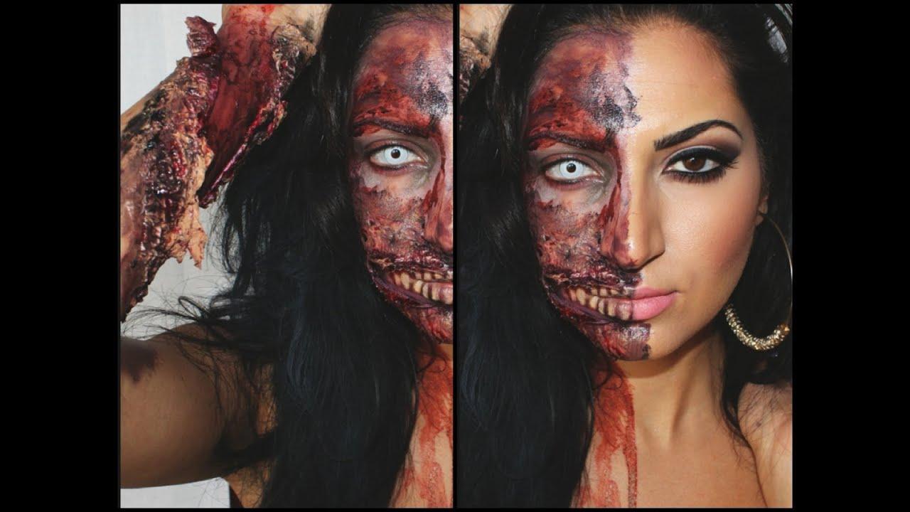 Halloween Tutorial: Half Zombie Half Human |2013| - YouTube