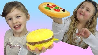 Funny Kids Ava and Isla Eat Pretend Food Pizza and Burger