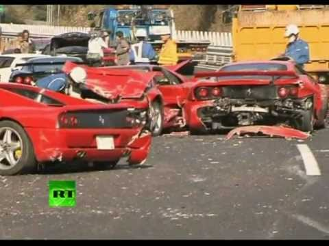 Ferrari Graveyard: Video of 14 supercar pile-up in Japan