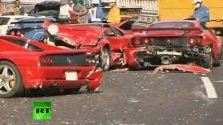 Ferrari Graveyard_ Video of 14 supercar pile-up in Japan