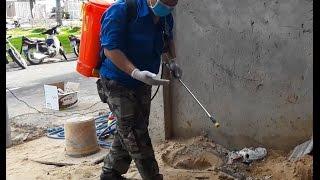 Video Bơm phun thuốc phòng chống mối nhà phố