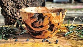 Woodturning a bowl from olive wood root !!! Ξυλοτορνος - κατασκευη μπολ απο ριζα ελιας !