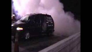 turbine engine jet car dragster van 1st. burnout