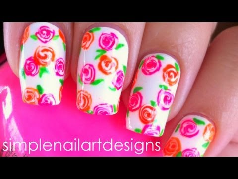 Neon Floral Nail Art Tutorial - YouTube