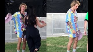 Justin Bieber dancing at Coachella with friends Chaz Somers & Josh Mehl - April 13, 2018