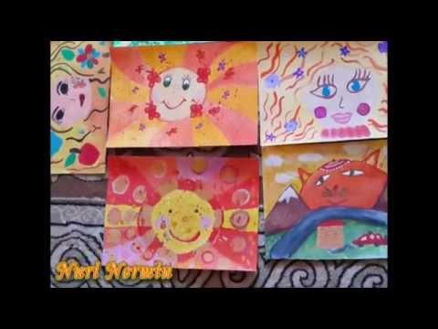 Дети рисуют солнышко. Children draw the sun