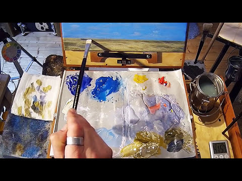 Free Acrylic Painting Lesson In Real Time - Painting Simple Clouds
