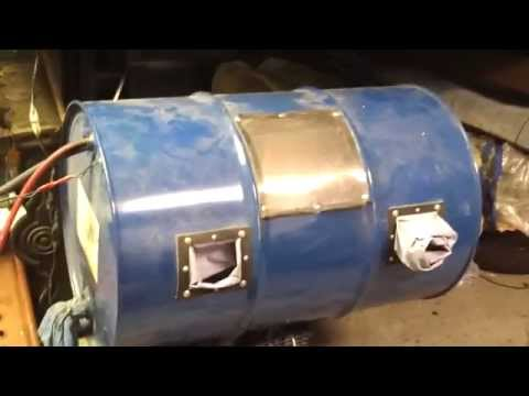 Homemade DIY Drum Sandblaster In Use