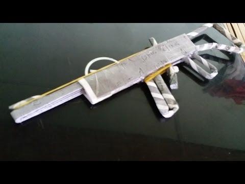 Cara membuat pistol kertas yang sangat sederhana | gun karet gelang