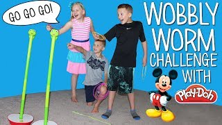 Wobbly Worm Challenge -- Play Doh & Surprise Toys Race