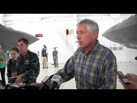 Secretary of Defense Chuck Hagel visits 33rd Fighter Wing at Eglin