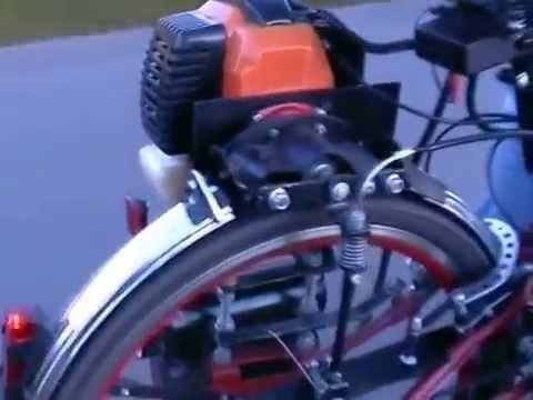 Rower z silnikiem od kosy spalinowej
