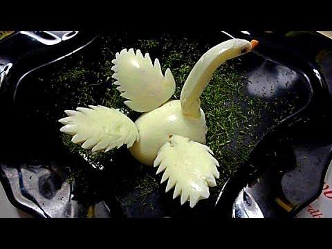 Лебедь из яйца. Карвинг из яйца. Украшения из яйца