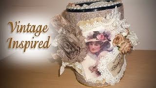 Vintage Inspired Altered Jar / Container - Lavish Laces