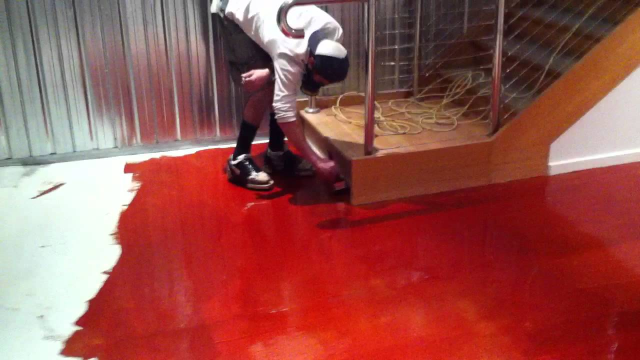 Installing Red Epoxy Flooring System Youtube
