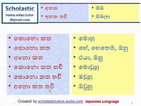 Learn Japanese Language using Sinhala Language- Part #001