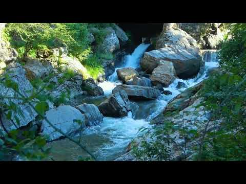 Calming Mountain Waterfall and River. Relaxing Water Sounds. (10 hours) White Noise for sleep.