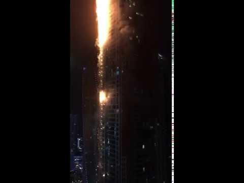 Dubai Torch Tower burning