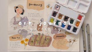 👩🏻‍🌾🌳 art journal with me ∣ gardening 。