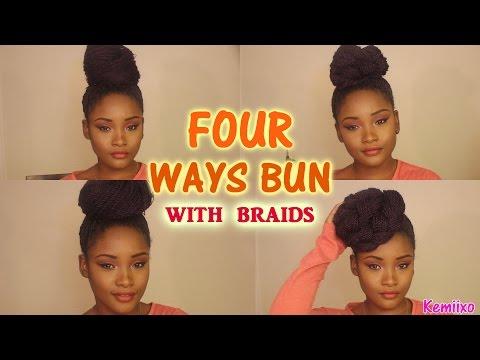 4 WAYS HAIR BUN STYLES with senegalese/rope twists braids   Kemiixo
