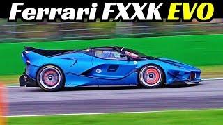 Ferrari FXX K + FXX K EVO at Monza Racetrack - Screaming V12 Engine, Backfires & Glowing Brakes!