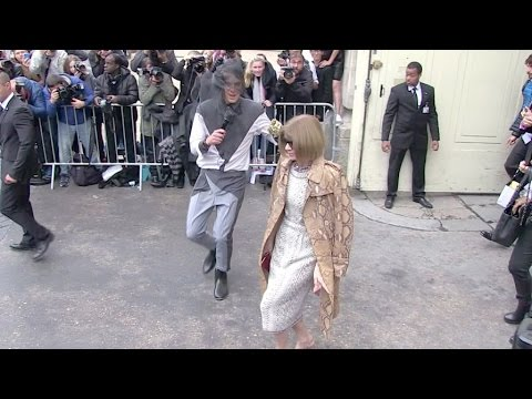 Fashion Icon Anna Wintour attacked by prankster Vitalii Sediuk at the Chanel Fashion Show in Paris