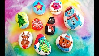 DIY Christmas Rocks Painting Craft Ideas - Stone Art For Winter Home Decor