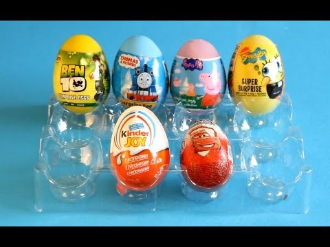 Six Types Of Surprise Eggs→peppa Pig→thomas And Friends→spongebob→kinder Surprise And Joy→cars video