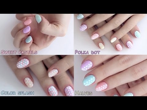 Spring nail art designs tutorial: polka dot pastels