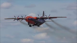 Antonov An-12, Cavok Air | Smoky Departure from Manchester Airport