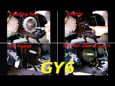 GY6 COOLING FAN~FLYWHEEL~STATOR~OIL PUMP~STARTER CLUTCH Removal