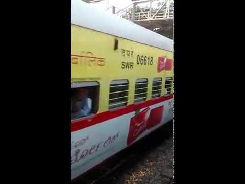 Chamundi Express crossing Kaveri Express at Pandavapura