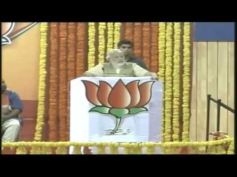 PM Modi addressing BJP workers at Dr. Shyama Prasad Mukherjee stadium at Bambolim, Goa