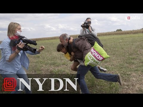 Hungarian camera woman trips fleeing refugees