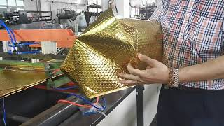 alu.foil air bubble bag making machine with zipper lock for warm keeper.  to go box producing
