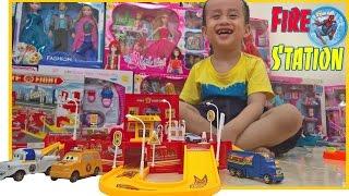 ĐỒ CHƠI TRẺ EM LẮP RÁP TRẠM XE Ô TÔ CHỮA CHÁY - XE CỨU HỎA | Lego Fire Station Toy