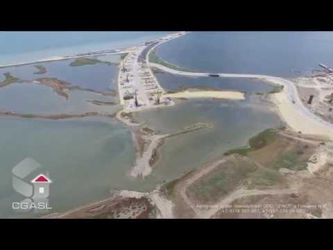 Аэросъемка строительства Крымского моста через Керченский пролив